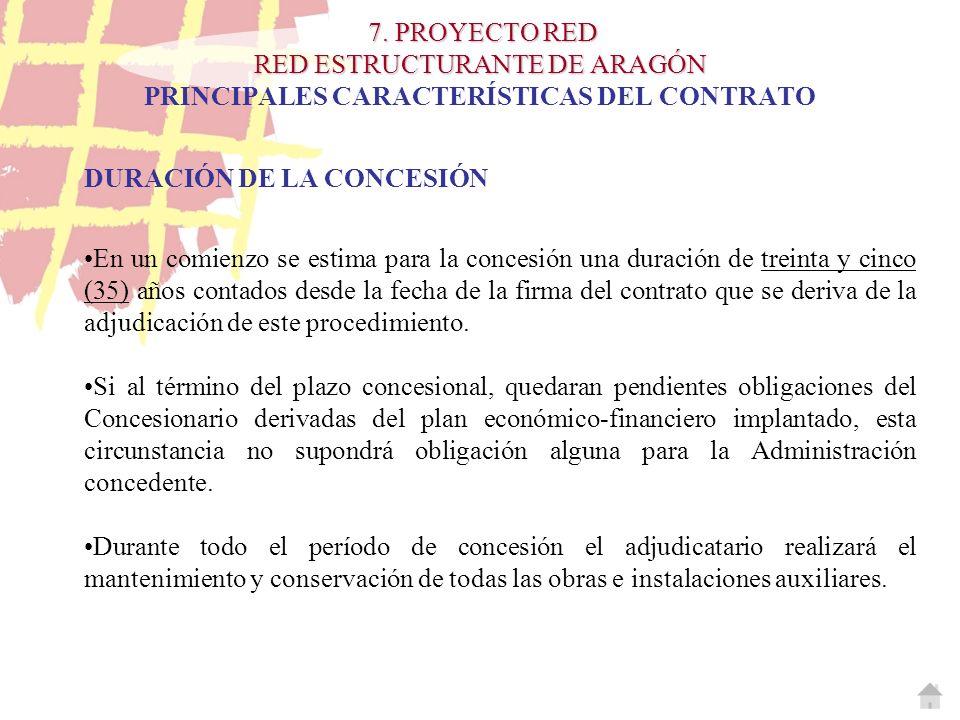 7. PROYECTO RED RED ESTRUCTURANTE DE ARAGÓN 7. PROYECTO RED RED ESTRUCTURANTE DE ARAGÓN PRINCIPALES CARACTERÍSTICAS DEL CONTRATO DURACIÓN DE LA CONCES