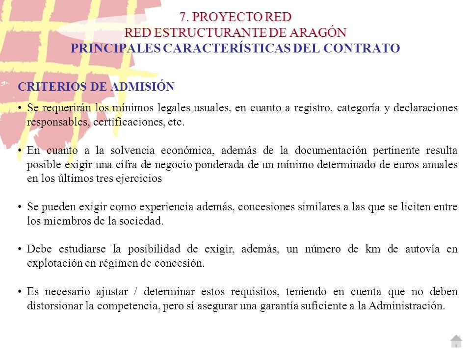 7. PROYECTO RED RED ESTRUCTURANTE DE ARAGÓN 7. PROYECTO RED RED ESTRUCTURANTE DE ARAGÓN PRINCIPALES CARACTERÍSTICAS DEL CONTRATO CRITERIOS DE ADMISIÓN