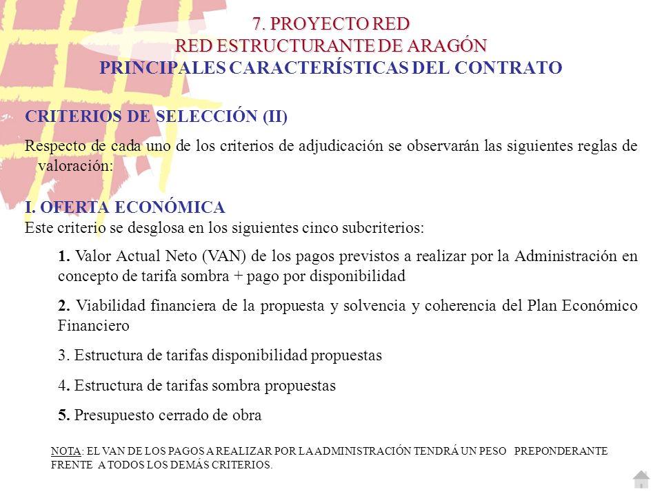 7. PROYECTO RED RED ESTRUCTURANTE DE ARAGÓN 7. PROYECTO RED RED ESTRUCTURANTE DE ARAGÓN PRINCIPALES CARACTERÍSTICAS DEL CONTRATO CRITERIOS DE SELECCIÓ