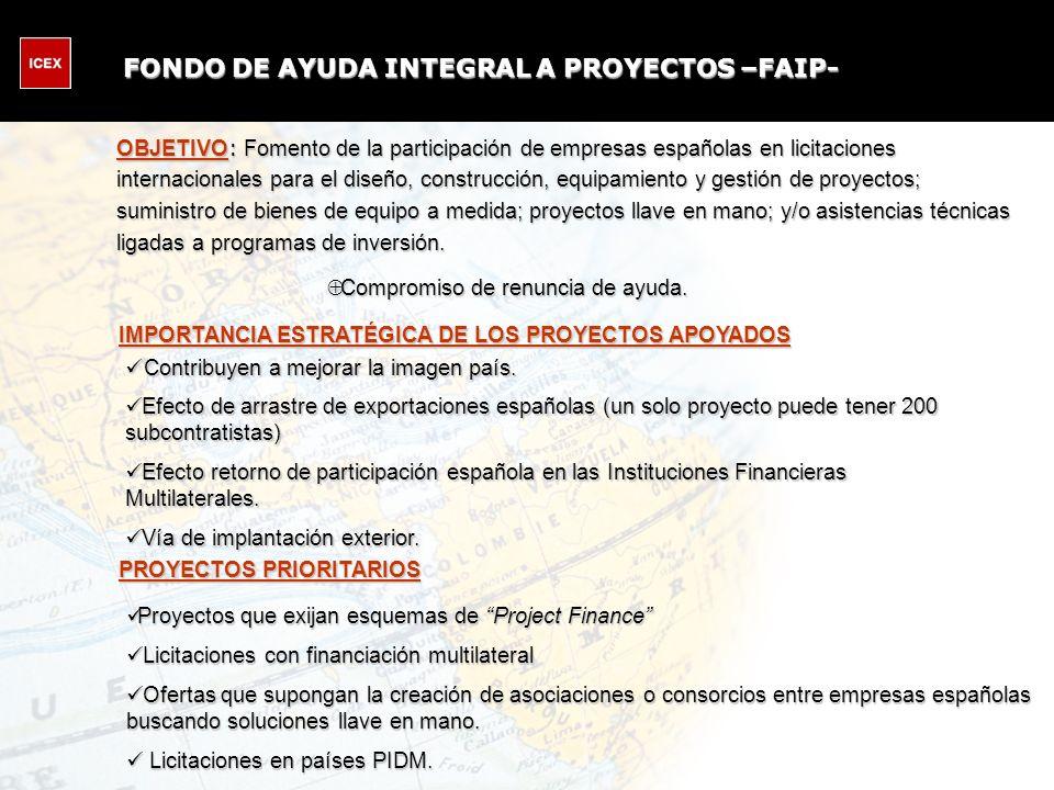 OBJETIVO : Fomento de la participación de empresas españolas en licitaciones internacionales para el diseño, construcción, equipamiento y gestión de proyectos; suministro de bienes de equipo a medida; proyectos llave en mano; y/o asistencias técnicas ligadas a programas de inversión.
