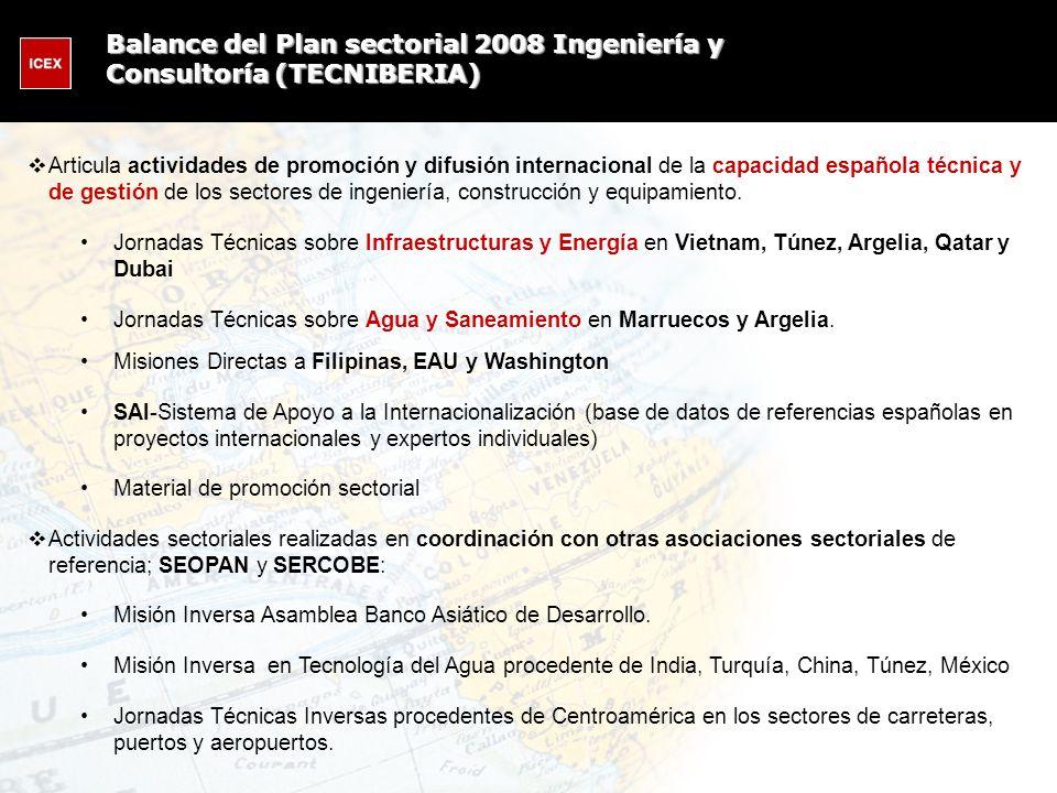 Articula actividades de promoción y difusión internacional de la capacidad española técnica y de gestión de los sectores de ingeniería, construcción y
