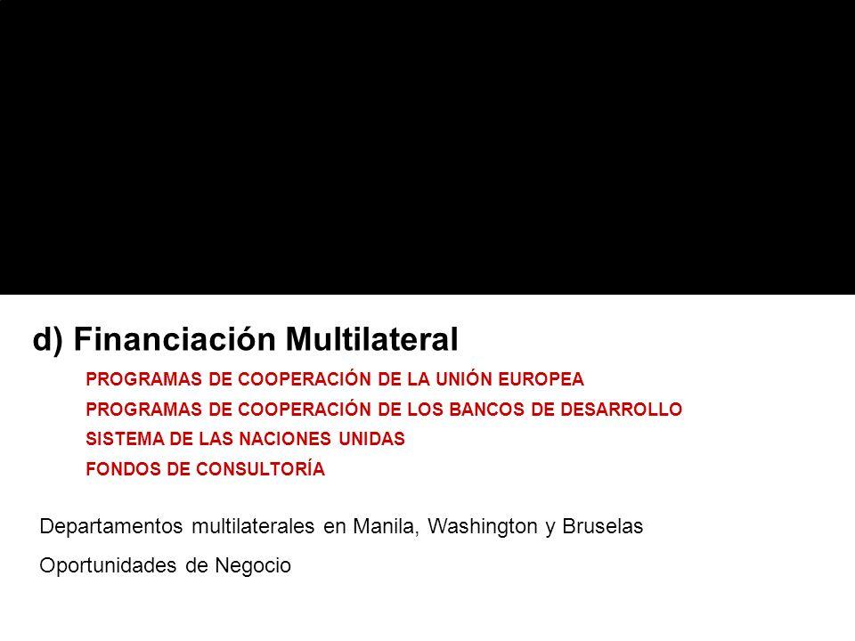 d) Financiación Multilateral PROGRAMAS DE COOPERACIÓN DE LA UNIÓN EUROPEA PROGRAMAS DE COOPERACIÓN DE LOS BANCOS DE DESARROLLO SISTEMA DE LAS NACIONES UNIDAS FONDOS DE CONSULTORÍA Departamentos multilaterales en Manila, Washington y Bruselas Oportunidades de Negocio