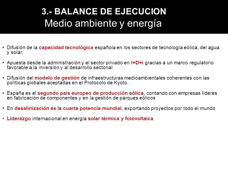 Medio ambiente y energía Difusión de la capacidad tecnológica española en los sectores de tecnología eólica, del agua y solar. Apuesta desde la admini
