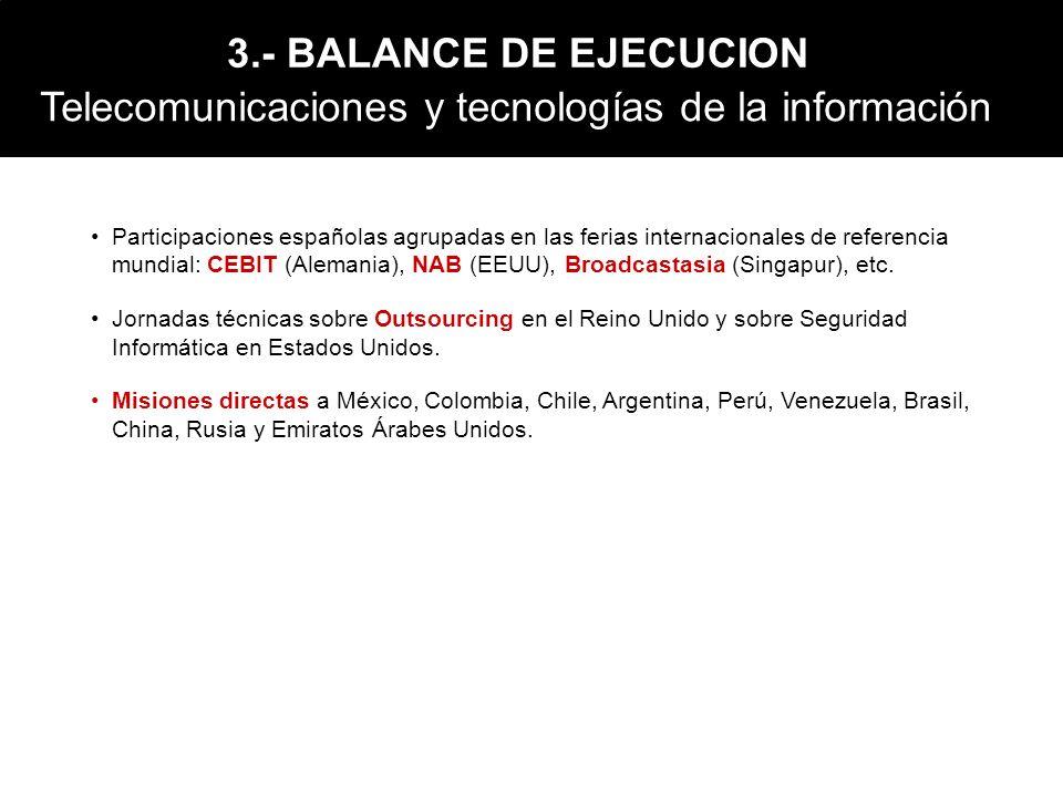 Participaciones españolas agrupadas en las ferias internacionales de referencia mundial: CEBIT (Alemania), NAB (EEUU), Broadcastasia (Singapur), etc.