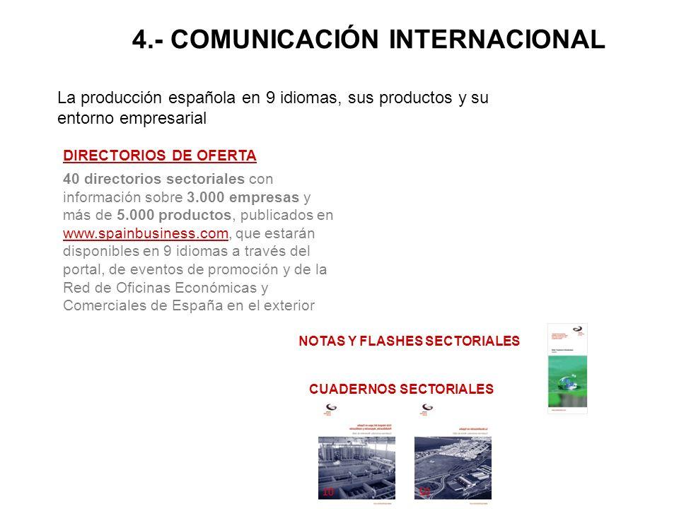La producción española en 9 idiomas, sus productos y su entorno empresarial DIRECTORIOS DE OFERTA 40 directorios sectoriales con información sobre 3.000 empresas y más de 5.000 productos, publicados en www.spainbusiness.com, que estarán disponibles en 9 idiomas a través del portal, de eventos de promoción y de la Red de Oficinas Económicas y Comerciales de España en el exterior www.spainbusiness.com NOTAS Y FLASHES SECTORIALES CUADERNOS SECTORIALES 4.- COMUNICACIÓN INTERNACIONAL
