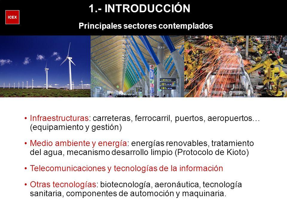 Infraestructuras: carreteras, ferrocarril, puertos, aeropuertos… (equipamiento y gestión) Medio ambiente y energía: energías renovables, tratamiento del agua, mecanismo desarrollo limpio (Protocolo de Kioto) Telecomunicaciones y tecnologías de la información Otras tecnologías: biotecnología, aeronáutica, tecnología sanitaria, componentes de automoción y maquinaria.