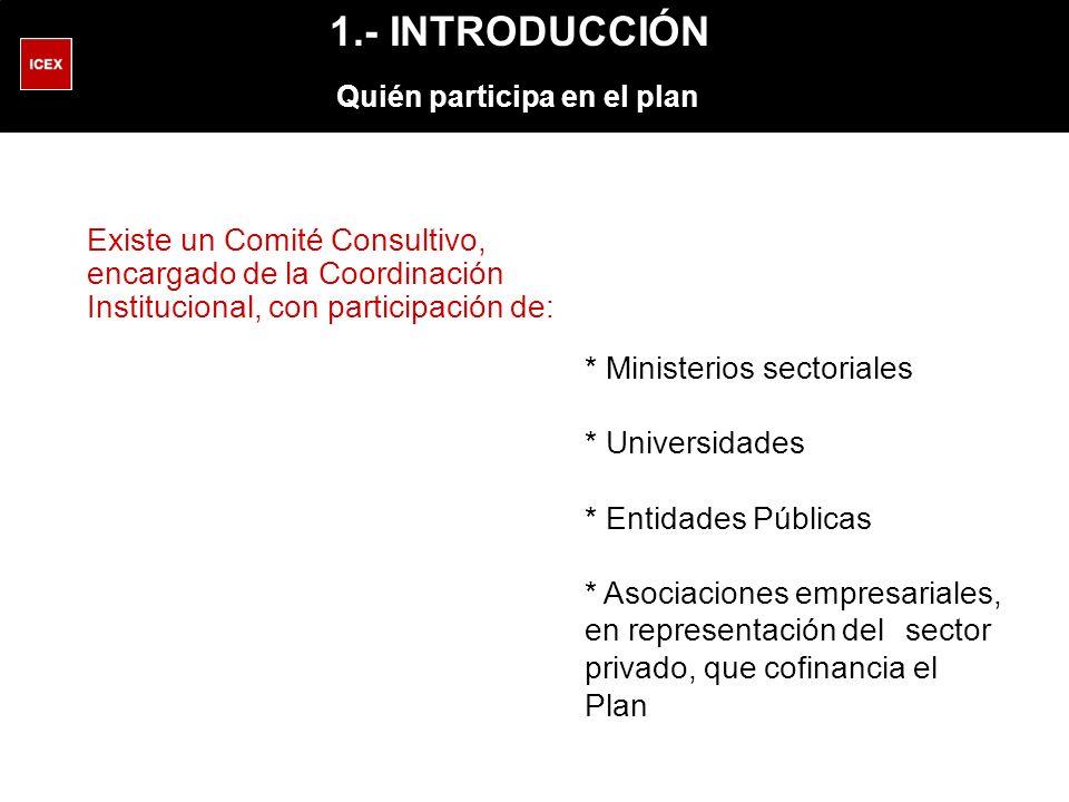 1.- INTRODUCCIÓN Quién participa en el plan * Ministerios sectoriales * Universidades * Entidades Públicas * Asociaciones empresariales, en representación del sector privado, que cofinancia el Plan Existe un Comité Consultivo, encargado de la Coordinación Institucional, con participación de: