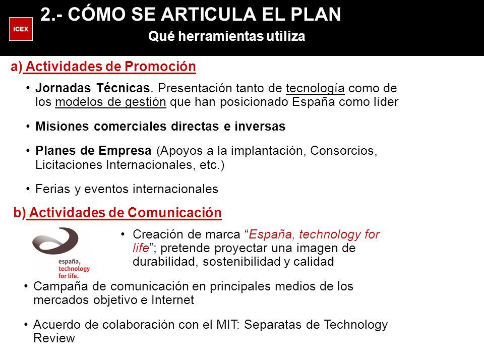 a) Actividades de Promoción Jornadas Técnicas. Presentación tanto de tecnología como de los modelos de gestión que han posicionado España como líder M