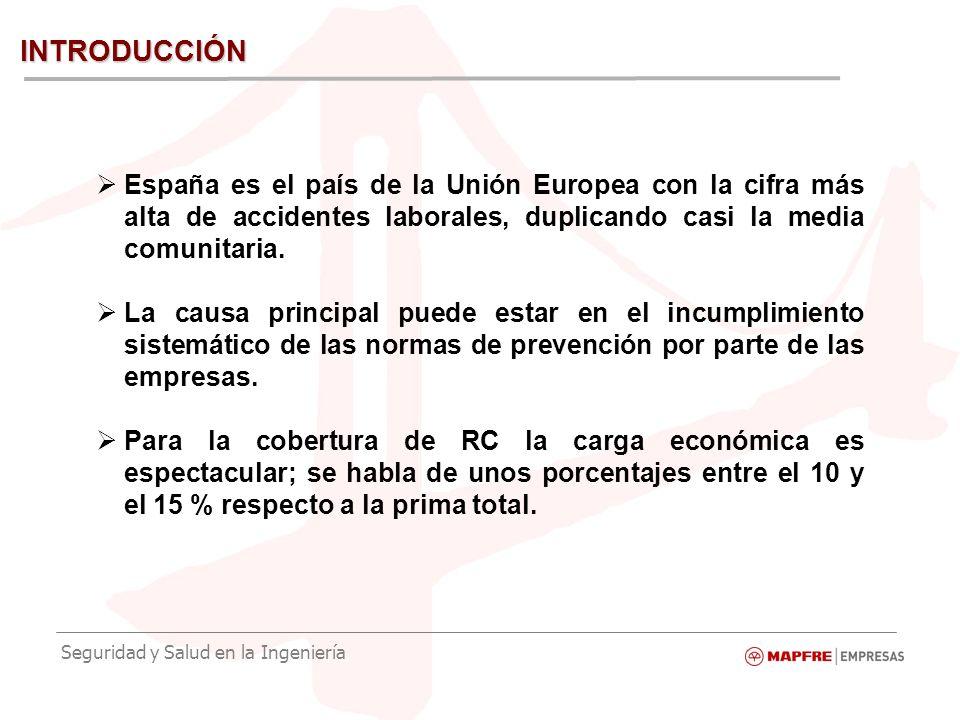 Seguridad y Salud en la Ingeniería INTRODUCCIÓN España es el país de la Unión Europea con la cifra más alta de accidentes laborales, duplicando casi la media comunitaria.