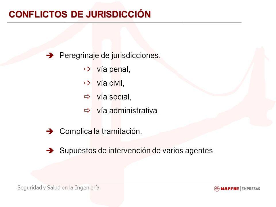Seguridad y Salud en la Ingeniería CONFLICTOS DE JURISDICCIÓN Peregrinaje de jurisdicciones: vía penal, vía civil, vía social, vía administrativa.