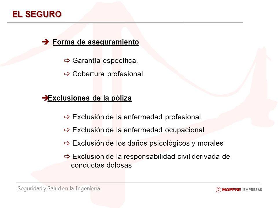 Seguridad y Salud en la Ingeniería EL SEGURO Forma de aseguramiento Garantía específica.