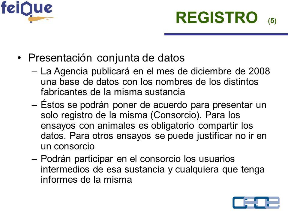 Presentación conjunta de datos –La Agencia publicará en el mes de diciembre de 2008 una base de datos con los nombres de los distintos fabricantes de la misma sustancia –Éstos se podrán poner de acuerdo para presentar un solo registro de la misma (Consorcio).