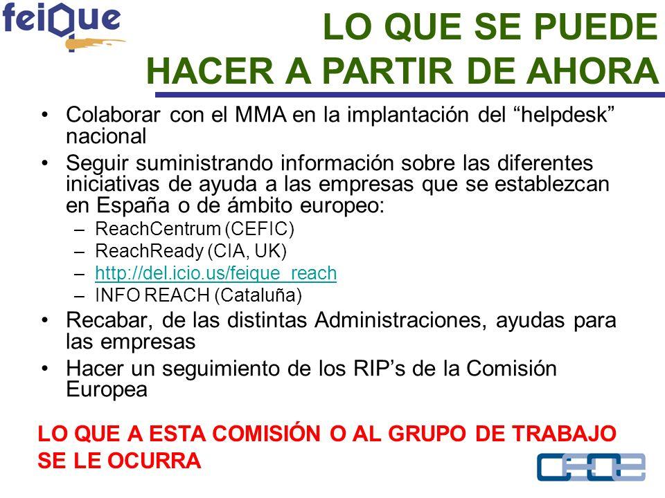 Colaborar con el MMA en la implantación del helpdesk nacional Seguir suministrando información sobre las diferentes iniciativas de ayuda a las empresas que se establezcan en España o de ámbito europeo: –ReachCentrum (CEFIC) –ReachReady (CIA, UK) –http://del.icio.us/feique_reachhttp://del.icio.us/feique_reach –INFO REACH (Cataluña) Recabar, de las distintas Administraciones, ayudas para las empresas Hacer un seguimiento de los RIPs de la Comisión Europea LO QUE SE PUEDE HACER A PARTIR DE AHORA LO QUE A ESTA COMISIÓN O AL GRUPO DE TRABAJO SE LE OCURRA