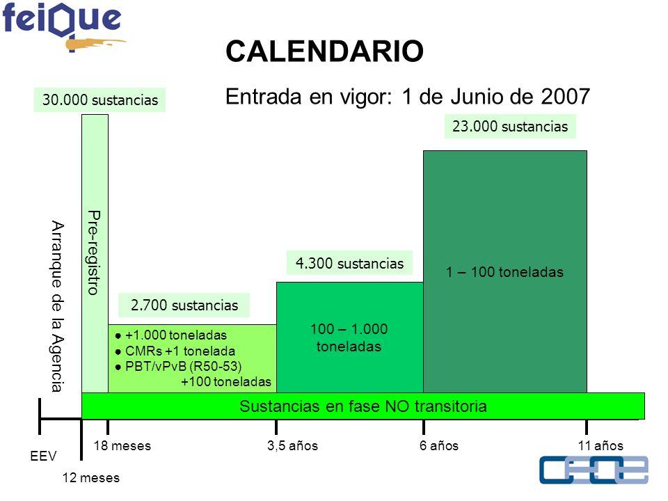 Sustancias en fase NO transitoria EEV 12 meses 18 meses3,5 años6 años11 años Arranque de la Agencia Pre-registro +1.000 toneladas CMRs +1 tonelada PBT/vPvB (R50-53) +100 toneladas 100 – 1.000 toneladas 1 – 100 toneladas 30.000 sustancias 2.700 sustancias 4.300 sustancias 23.000 sustancias CALENDARIO Entrada en vigor: 1 de Junio de 2007