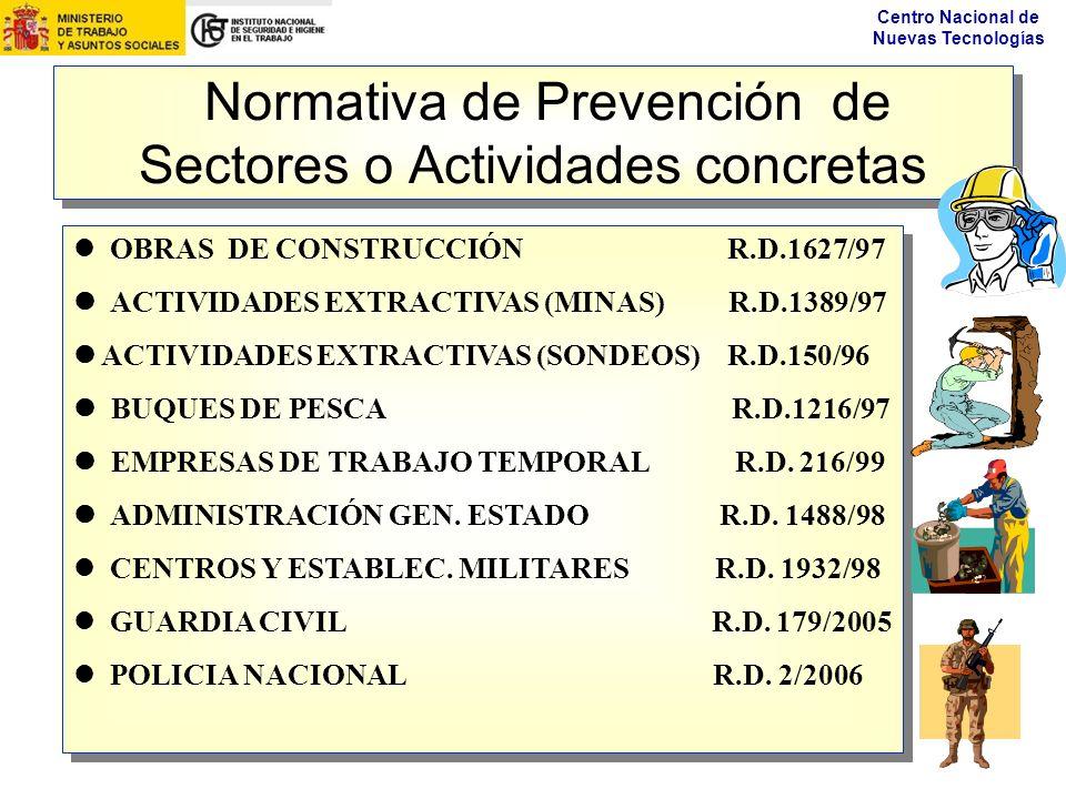 Centro Nacional de Nuevas Tecnologías Normativa de Prevención de Sectores o Actividades concretas OBRAS DE CONSTRUCCIÓN R.D.1627/97 ACTIVIDADES EXTRAC