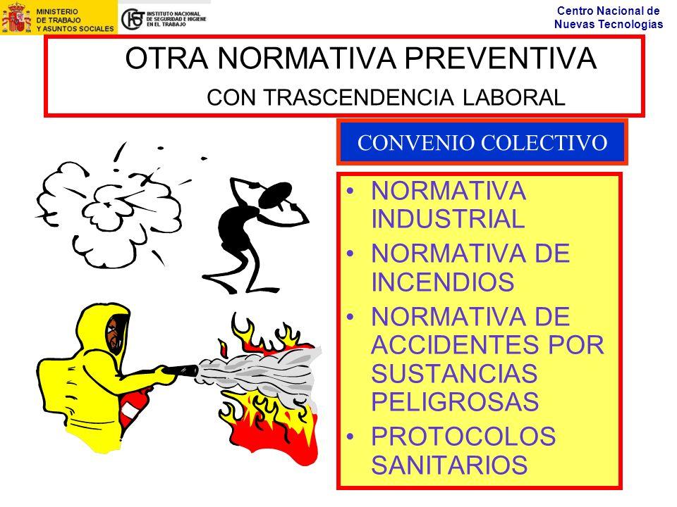 Centro Nacional de Nuevas Tecnologías OTRA NORMATIVA PREVENTIVA CON TRASCENDENCIA LABORAL NORMATIVA INDUSTRIAL NORMATIVA DE INCENDIOS NORMATIVA DE ACC