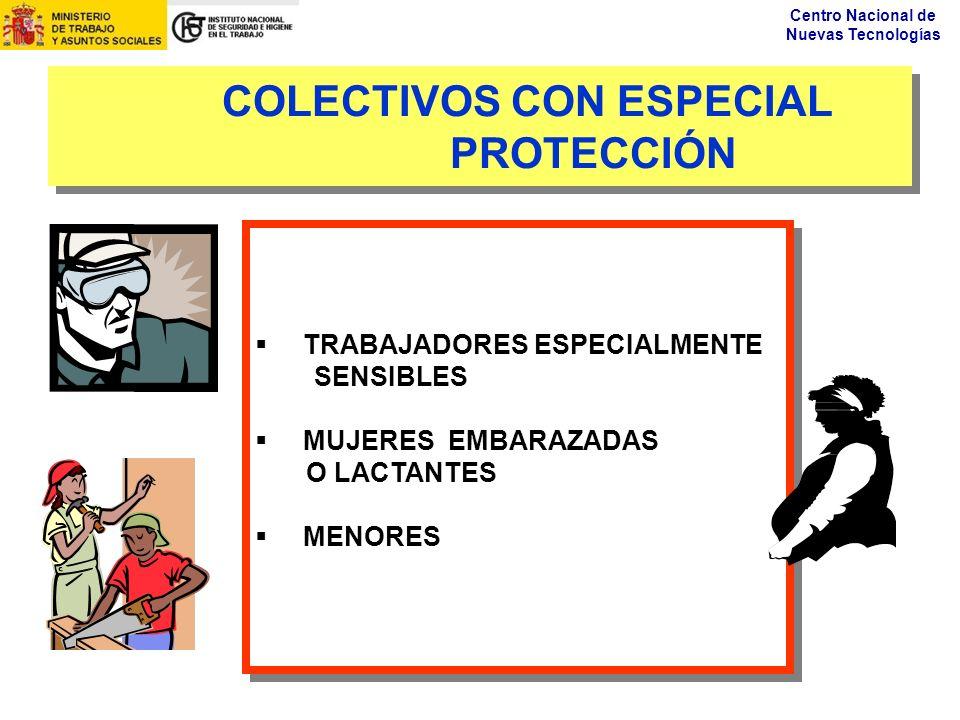 Centro Nacional de Nuevas Tecnologías COLECTIVOS CON ESPECIAL PROTECCIÓN TRABAJADORES ESPECIALMENTE SENSIBLES MUJERES EMBARAZADAS O LACTANTES MENORES