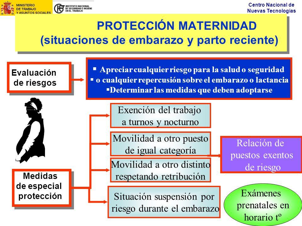 Centro Nacional de Nuevas Tecnologías PROTECCIÓN MATERNIDAD (situaciones de embarazo y parto reciente) Medidas de especial protección Medidas de espec