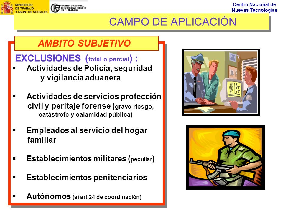 Centro Nacional de Nuevas Tecnologías CAMPO DE APLICACIÓN EXCLUSIONES ( total o parcial ) : Actividades de Policía, seguridad y vigilancia aduanera Ac
