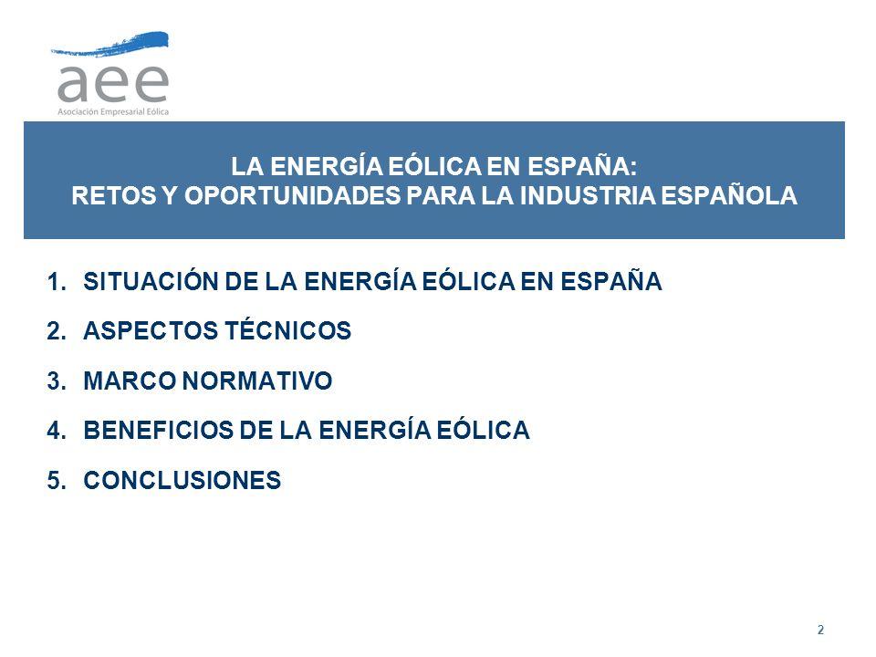 2 LA ENERGÍA EÓLICA EN ESPAÑA: RETOS Y OPORTUNIDADES PARA LA INDUSTRIA ESPAÑOLA 1.SITUACIÓN DE LA ENERGÍA EÓLICA EN ESPAÑA 2.ASPECTOS TÉCNICOS 3.MARCO