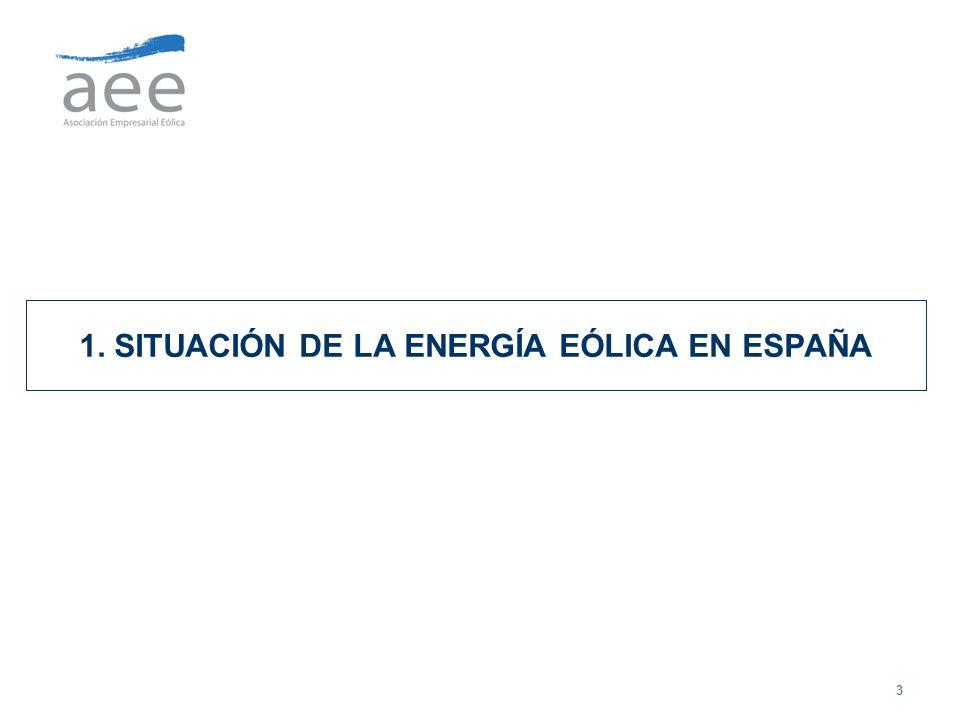 14 UNA APORTACIÓN IMPORTANTE DE LA ENERGÍA EÓLICA AL SISTEMA Máximo de generación eólica de 8.142 MW producidos con 11.615 MW instalados Cubriendo 30,6% de la demanda de energía eléctrica a las 17.00h