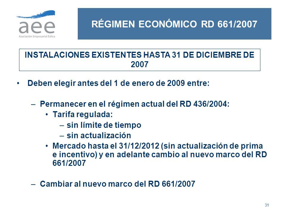 31 RÉGIMEN ECONÓMICO RD 661/2007 Deben elegir antes del 1 de enero de 2009 entre: –Permanecer en el régimen actual del RD 436/2004: Tarifa regulada: –