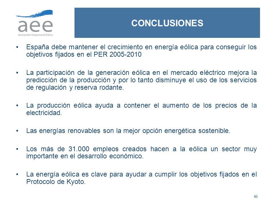 46 CONCLUSIONES España debe mantener el crecimiento en energía eólica para conseguir los objetivos fijados en el PER 2005-2010 La participación de la
