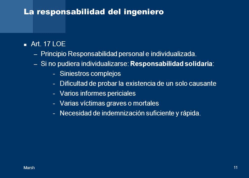 Marsh 11 La responsabilidad del ingeniero Art. 17 LOE – Principio Responsabilidad personal e individualizada. – Si no pudiera individualizarse: Respon