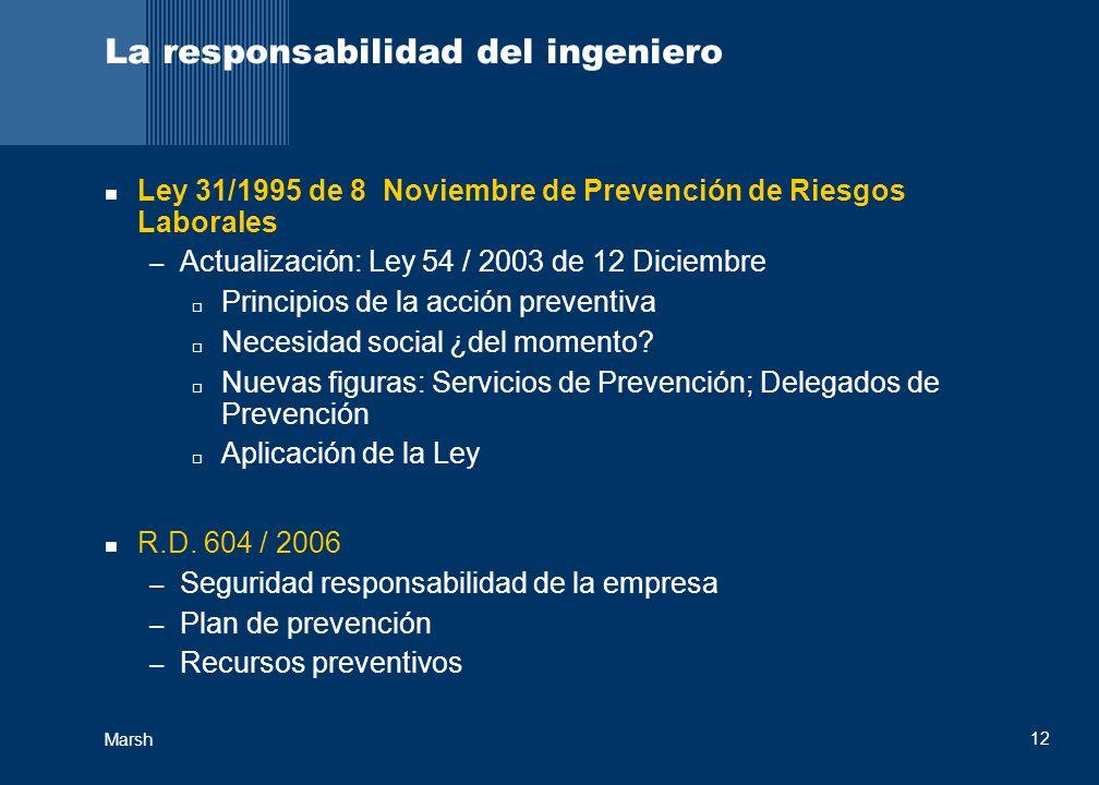 Marsh 12 La responsabilidad del ingeniero Ley 31/1995 de 8 Noviembre de Prevención de Riesgos Laborales – Actualización: Ley 54 / 2003 de 12 Diciembre