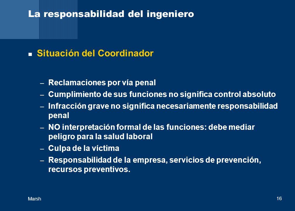 Marsh 16 La responsabilidad del ingeniero Situación del Coordinador – Reclamaciones por vía penal – Cumplimiento de sus funciones no significa control