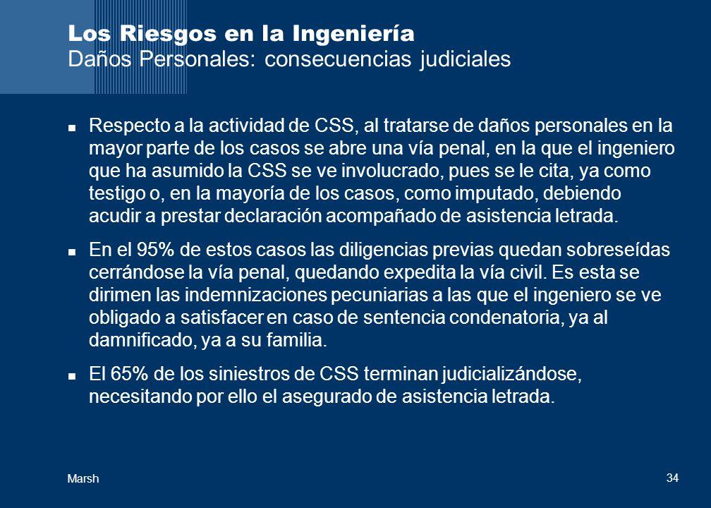 Marsh 34 Los Riesgos en la Ingeniería Daños Personales: consecuencias judiciales Respecto a la actividad de CSS, al tratarse de daños personales en la