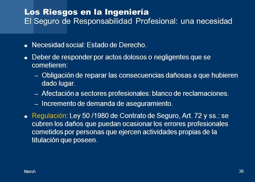 Marsh 38 Los Riesgos en la Ingeniería El Seguro de Responsabilidad Profesional: una necesidad Necesidad social: Estado de Derecho. Deber de responder