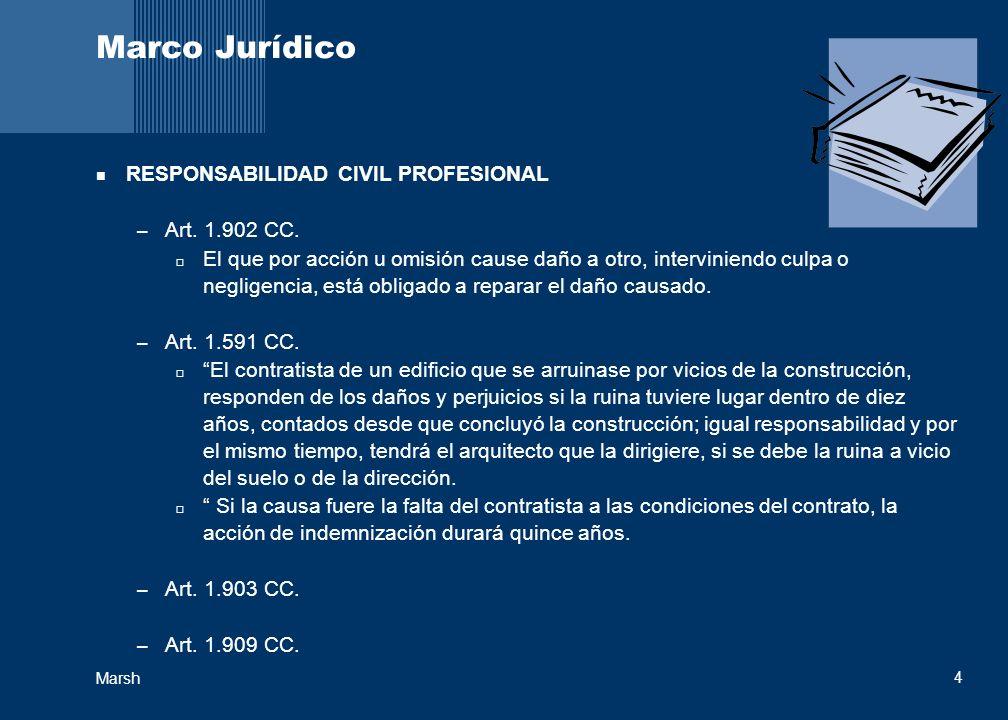 Marsh 4 Marco Jurídico RESPONSABILIDAD CIVIL PROFESIONAL – Art. 1.902 CC. El que por acción u omisión cause daño a otro, interviniendo culpa o neglige