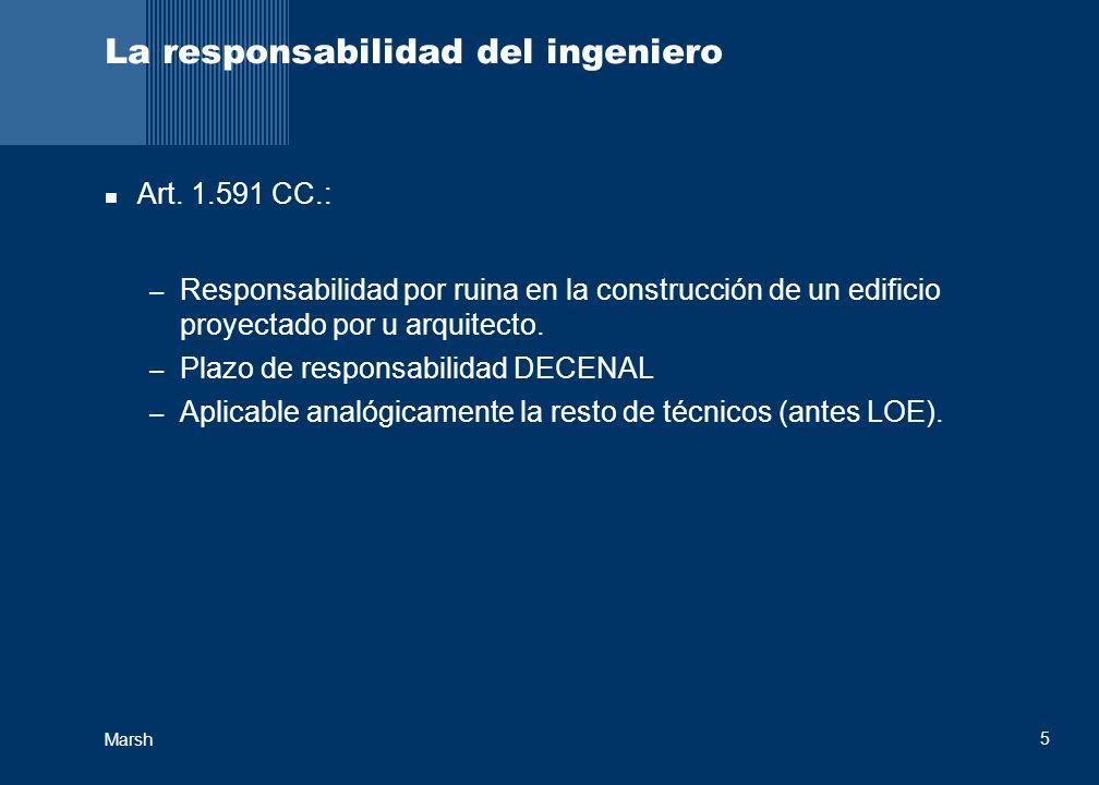 Marsh 5 La responsabilidad del ingeniero Art. 1.591 CC.: – Responsabilidad por ruina en la construcción de un edificio proyectado por u arquitecto. –