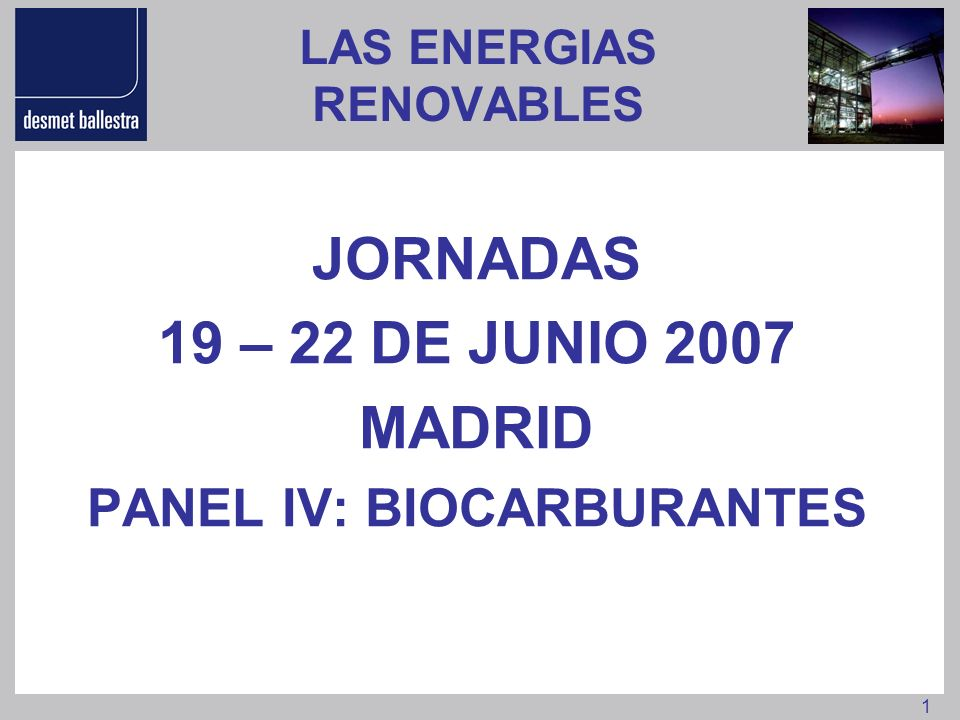 1 LAS ENERGIAS RENOVABLES JORNADAS 19 – 22 DE JUNIO 2007 MADRID PANEL IV: BIOCARBURANTES
