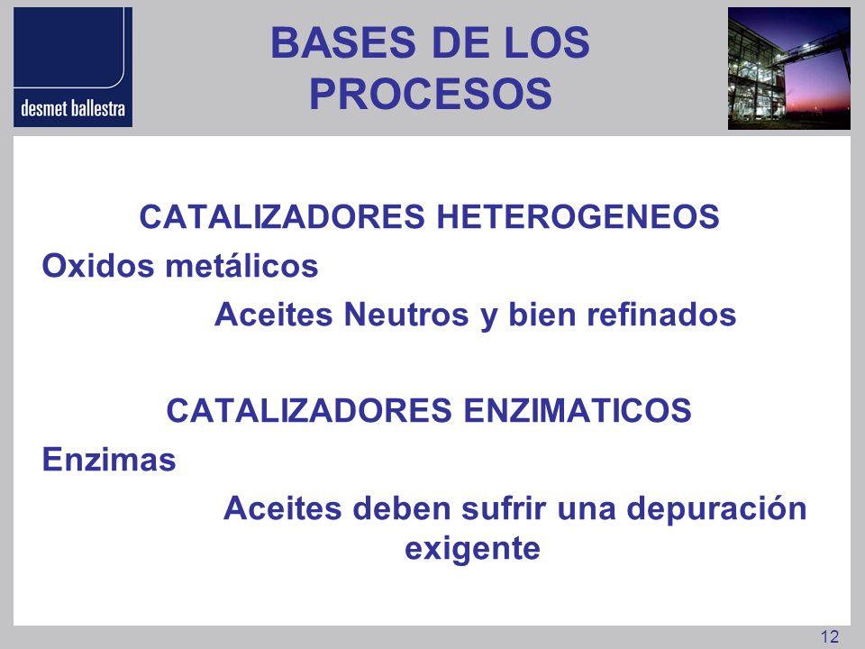 12 BASES DE LOS PROCESOS CATALIZADORES HETEROGENEOS Oxidos metálicos Aceites Neutros y bien refinados CATALIZADORES ENZIMATICOS Enzimas Aceites deben