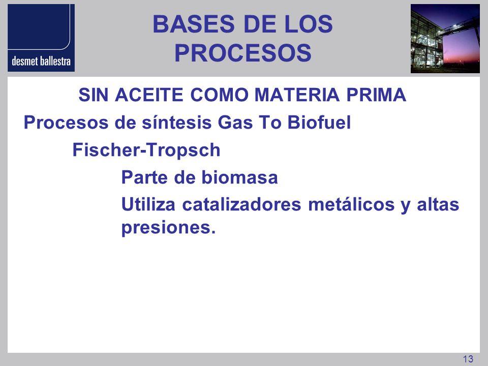 13 BASES DE LOS PROCESOS SIN ACEITE COMO MATERIA PRIMA Procesos de síntesis Gas To Biofuel Fischer-Tropsch Parte de biomasa Utiliza catalizadores metá