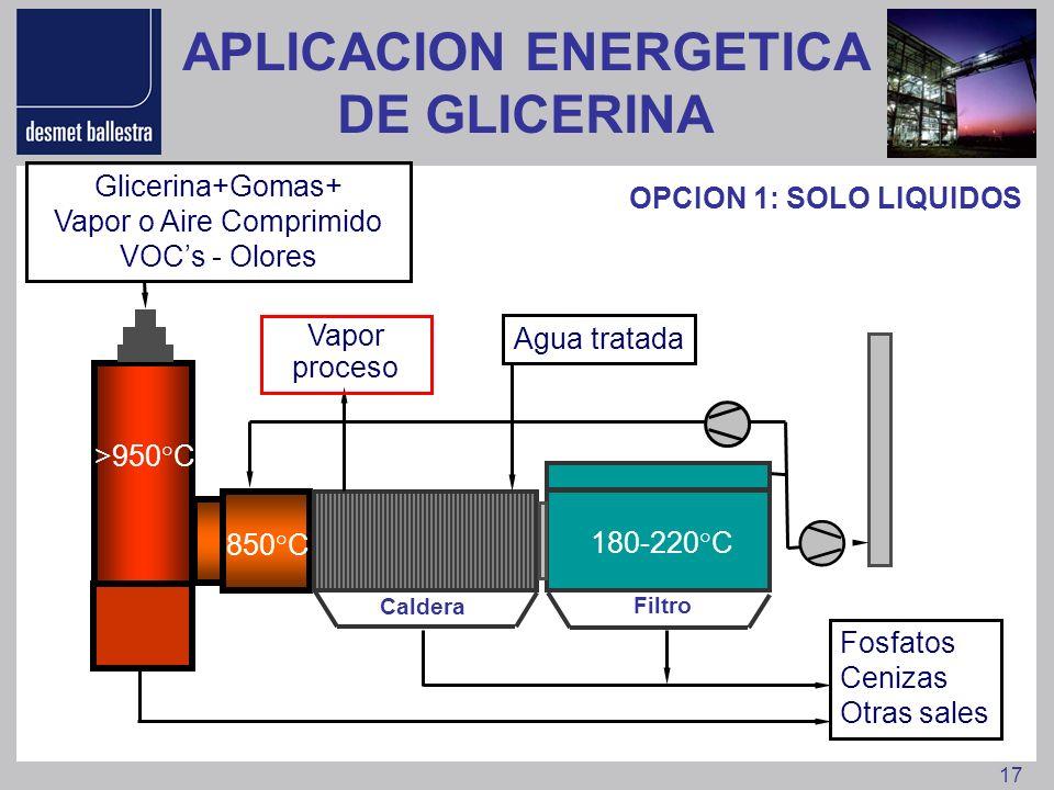 17 Fosfatos Cenizas Otras sales >950°C 850°C 180-220°C Glicerina+Gomas+ Vapor o Aire Comprimido VOCs - Olores Agua tratada OPCION 1: SOLO LIQUIDOS Vap