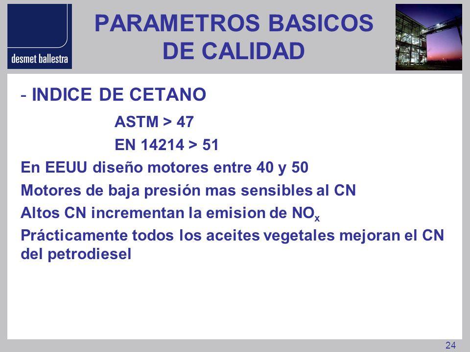 24 PARAMETROS BASICOS DE CALIDAD - INDICE DE CETANO ASTM > 47 EN 14214 > 51 En EEUU diseño motores entre 40 y 50 Motores de baja presión mas sensibles