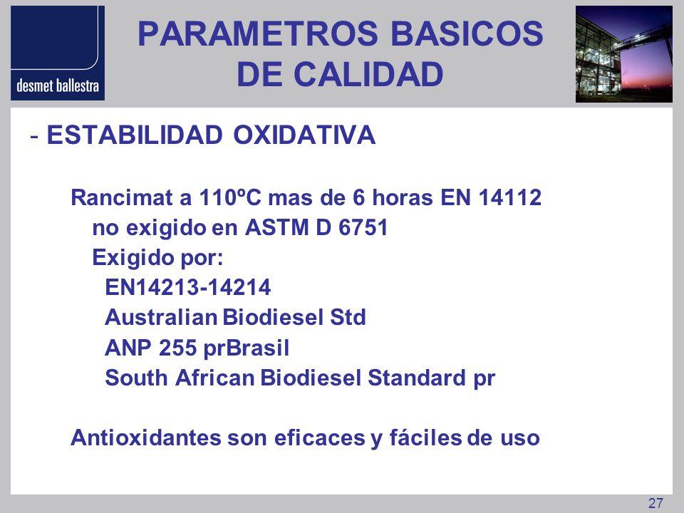 27 PARAMETROS BASICOS DE CALIDAD - ESTABILIDAD OXIDATIVA Rancimat a 110ºC mas de 6 horas EN 14112 no exigido en ASTM D 6751 Exigido por: EN14213-14214