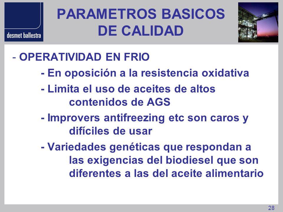28 PARAMETROS BASICOS DE CALIDAD - OPERATIVIDAD EN FRIO - En oposición a la resistencia oxidativa - Limita el uso de aceites de altos contenidos de AG