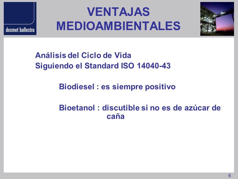 6 VENTAJAS MEDIOAMBIENTALES Análisis del Ciclo de Vida Siguiendo el Standard ISO 14040-43 Biodiesel : es siempre positivo Bioetanol : discutible si no