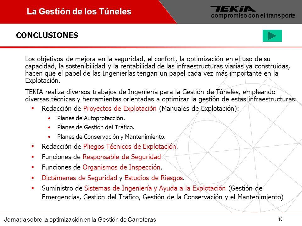 10 Jornada sobre la optimización en la Gestión de Carreteras compromiso con el transporte CONCLUSIONES La Gestión de los Túneles Los objetivos de mejo