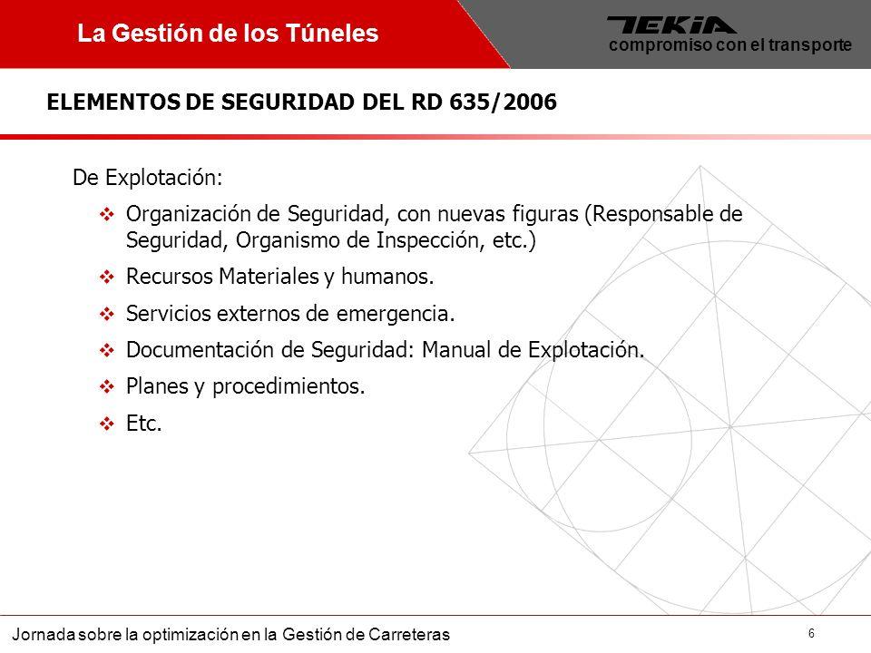7 Jornada sobre la optimización en la Gestión de Carreteras compromiso con el transporte La Gestión de los Túneles INGENIERÍA EN EL CICLO DE VIDA DE LOS TÚNELES