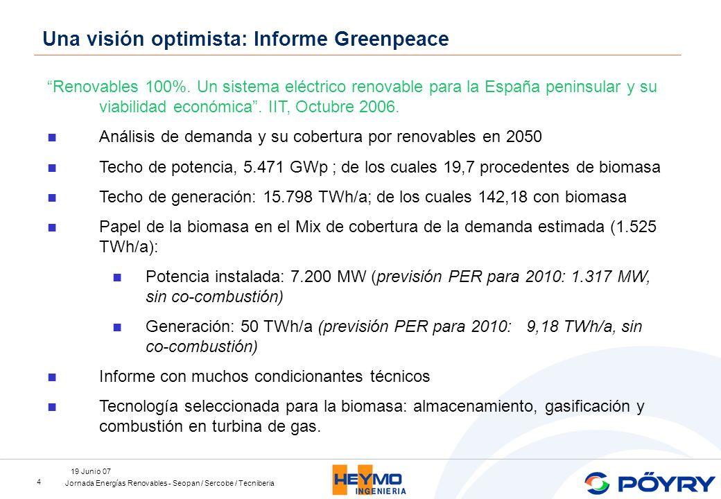 Jornada Energías Renovables - Seopan / Sercobe / Tecniberia 19 Junio 07 4 Renovables 100%. Un sistema eléctrico renovable para la España peninsular y