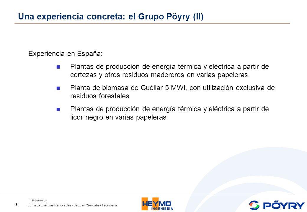 Jornada Energías Renovables - Seopan / Sercobe / Tecniberia 19 Junio 07 6 Experiencia en España: Plantas de producción de energía térmica y eléctrica a partir de cortezas y otros residuos madereros en varias papeleras.