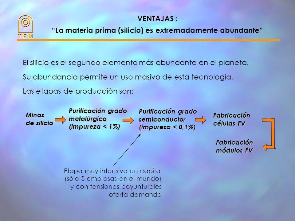 VENTAJAS Ventajas a destacar: - La materia prima (silicio) es extremadamente abundante - La generación de electricidad es limpia, no contaminante - El