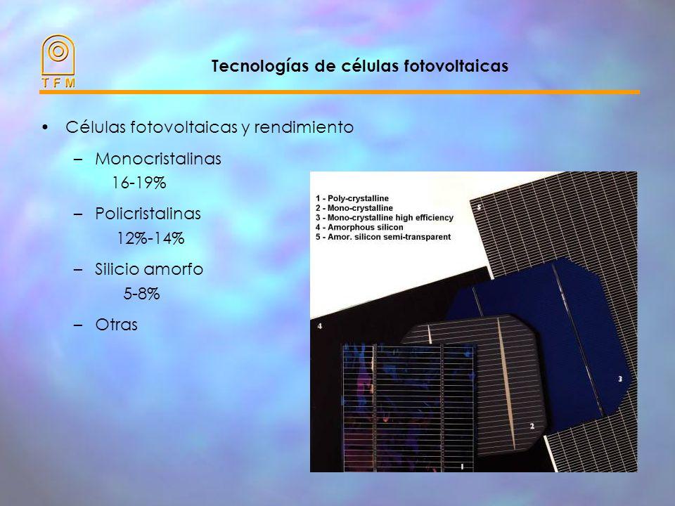 Tecnologías de células fotovoltaicas Células fotovoltaicas y rendimiento –Monocristalinas 16-19% –Policristalinas 12%-14% –Silicio amorfo 5-8% –Otras