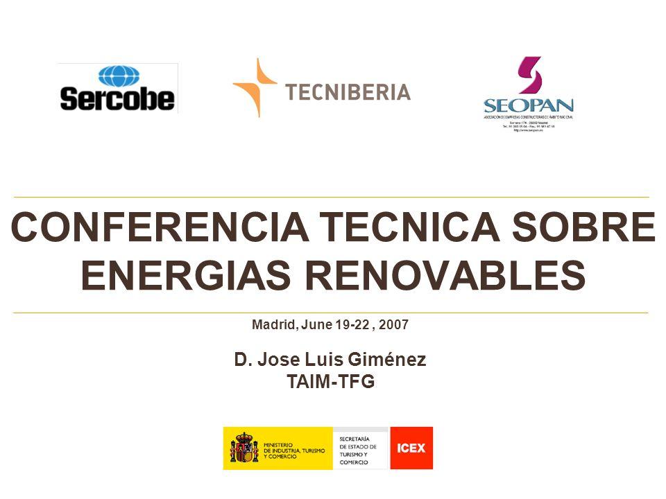 CONFERENCIA TECNICA SOBRE ENERGIAS RENOVABLES Madrid, June 19-22, 2007 D. Jose Luis Giménez TAIM-TFG