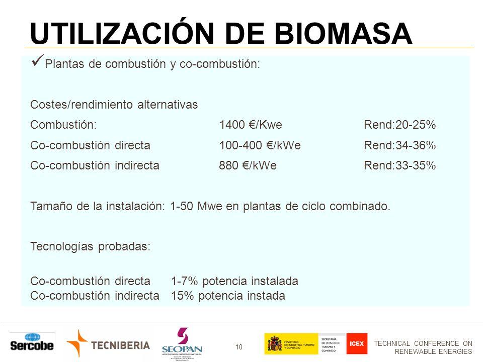 TECHNICAL CONFERENCE ON RENEWABLE ENERGIES 10 UTILIZACIÓN DE BIOMASA Plantas de combustión y co-combustión: Costes/rendimiento alternativas Combustión:1400 /KweRend:20-25% Co-combustión directa100-400 /kWeRend:34-36% Co-combustión indirecta 880 /kWeRend:33-35% Tamaño de la instalación: 1-50 Mwe en plantas de ciclo combinado.
